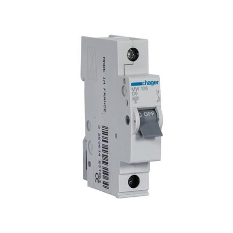 Disjuntor 1P 6A C 3KA MW106 Hager