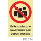 Evite contacto e proximidade com outras pessoas COVID-19 PC074
