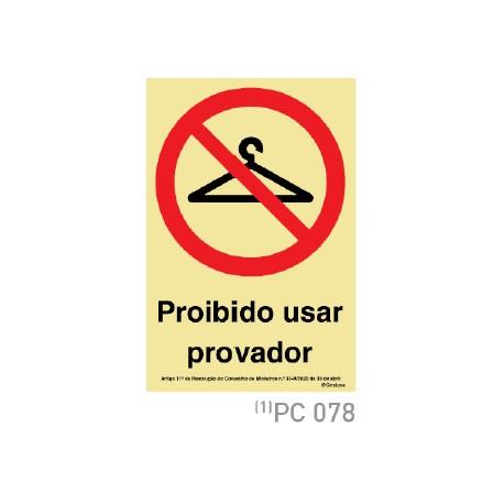Proibido usar provador COVID-19 PC078
